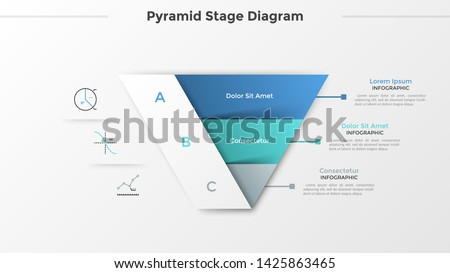 Triangular chart or pyramid diagram divided into 3 parts or levels, linear icons and place for text. Concept of three stages of project development. Infographic design template. Vector illustration.