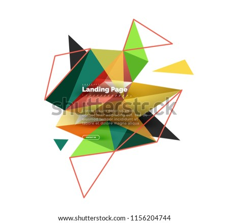 Triangular design abstract background, landing page. Low poly style colorful triangles on white. Vector illustration #1156204744