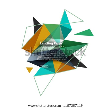Triangular design abstract background, landing page. Low poly style colorful triangles on white. Vector illustration #1157357119