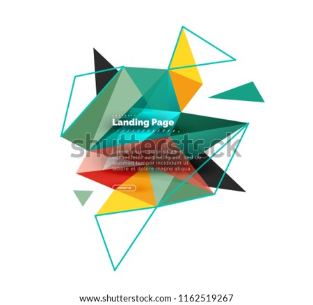 Triangular design abstract background, landing page. Low poly style colorful triangles on white. Vector illustration #1162519267