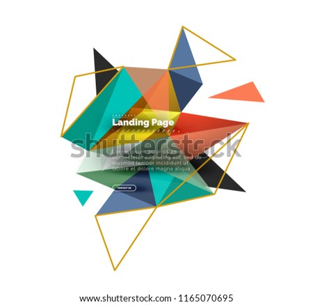 Triangular design abstract background, landing page. Low poly style colorful triangles on white. Vector illustration #1165070695