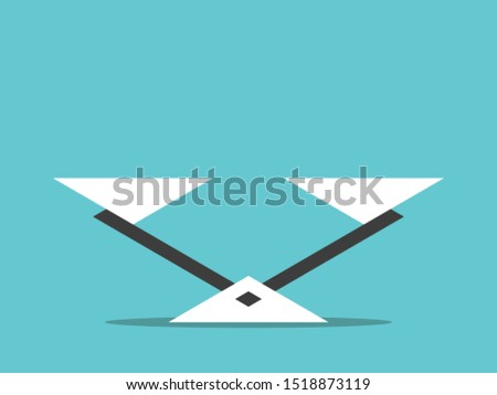 Triangular empty seesaw weight scale on turquoise blue background. Balance, comparison, equilibrium and harmony concept. Flat design. Vector illustration, no transparency, no gradients