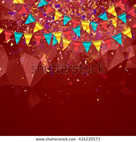 Triangular Festive Background with Garlands
