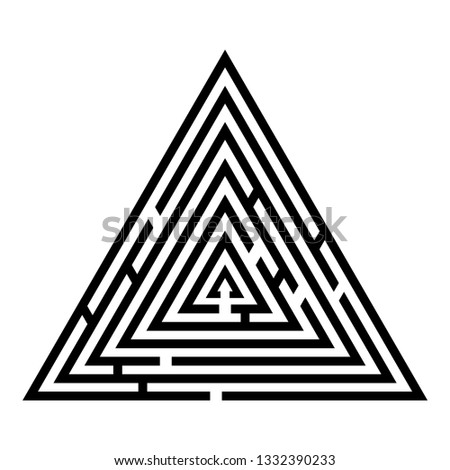 Triangular labyrinth Maze conundrum Labyrinth conundrum icon black color vector illustration flat style simple image