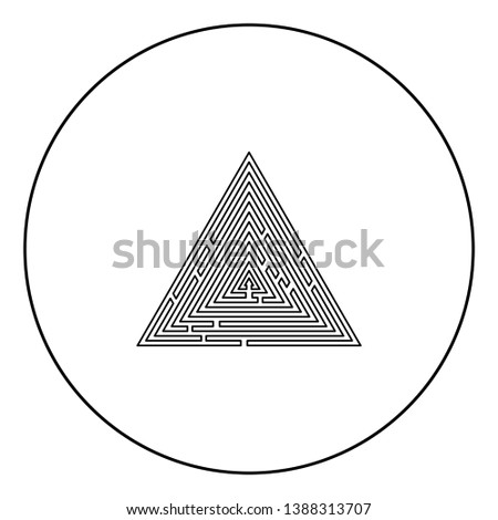 Triangular labyrinth Maze conundrum Labyrinth conundrum icon in circle round outline black