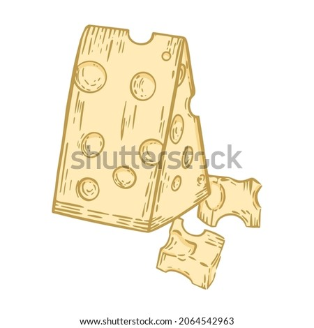 Triangular piece of cheese with holes, vector illustration. Isolated slice of yellow hand engraved cut. Sketch milk natural food product maasdam.