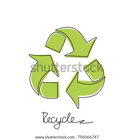 Triangular recycling symbol on white background. Environmentally friendly world. Illustration of ecology the concept of info graphics. Icon