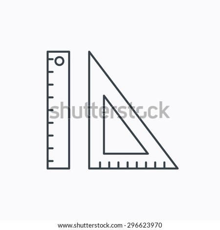Triangular ruler icon. Geometric school supplies symbol. Linear outline icon on white background. Vector