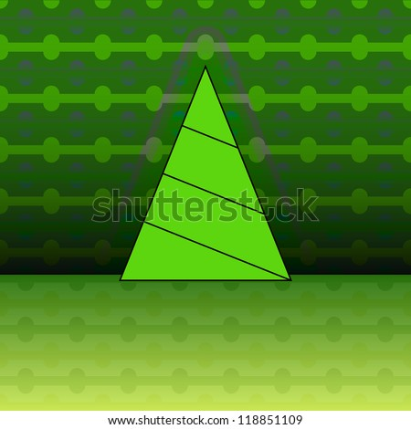 triangular shape christmas tree on green linear pattern vector card