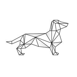 Triangulate dog geometric style vector. Contour for tattoo, emblem, logo and design element. Hand drawn sketch of a dachshund