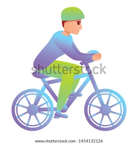 Triathlon cycling icon. Cartoon of triathlon cycling vector icon for web design isolated on white background