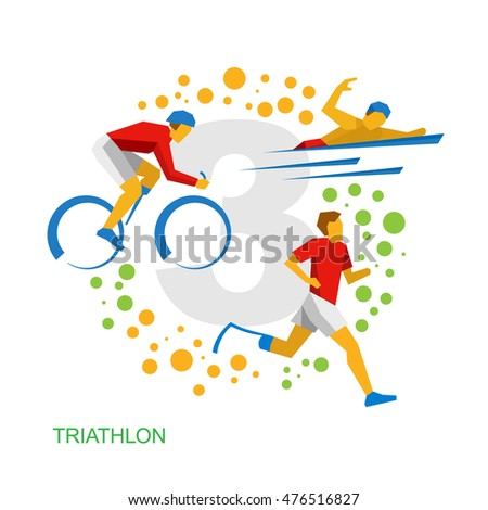 Triathlon for physically disabled people. Athletes with disabilities - vector image clip art. Triathlon flat icons.