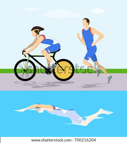 Triathlon race illustration. Man swims and rides and runs.