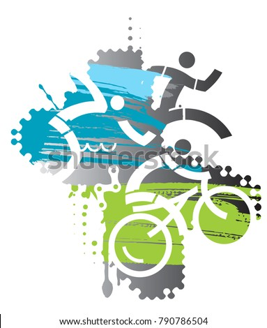 Triathlon race Iron Man. Three triathlon athletes on the grunge background. Vector available.