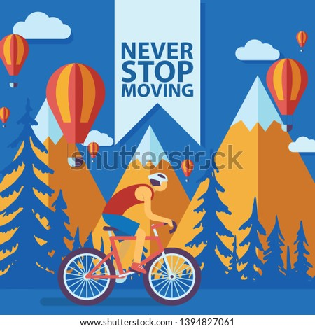 Triathlon track vector illustration. Never stop moving concept banner, poster, brochure, flyer. Cartoon male cyclist riding a bike in mountains with hot-air balloons. Road cycling, cycling tour.