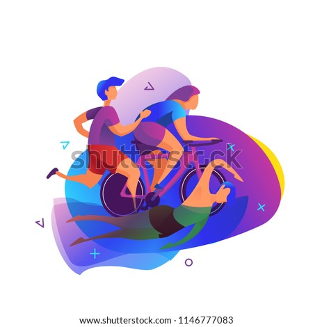Triathlon vector illustration. Sport and activity background.
