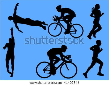 triathlon vector silhouettes