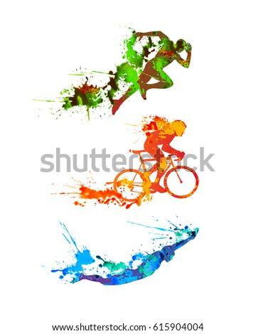 triathlon vector watercolor set....