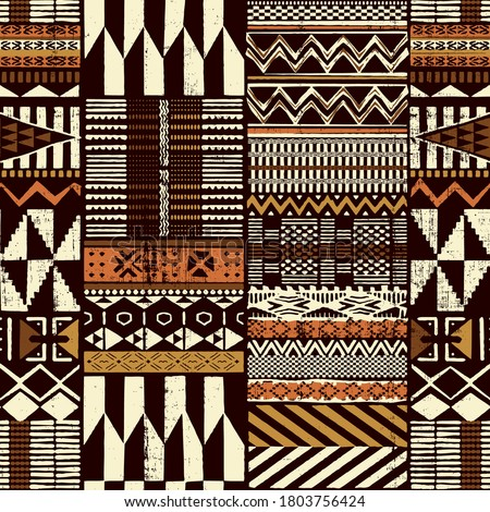 Tribal African style fabric patchwork abstract vector seamless pattern ethnic wallpaper