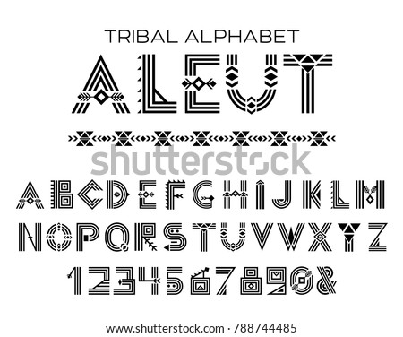 Tribal Aleut alphabet. Native Historic Cyrillic set of letters and figures, traditional ethnic characters in style of customs and traditions of Alaska culture. Vector illustration - Shutterstock ID 788744485