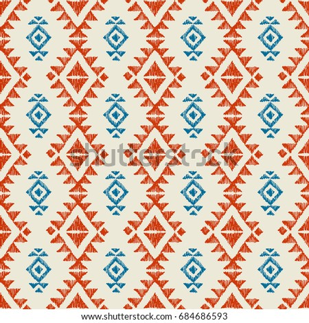 Tribal american indian seamless pattern. Ornamental ethnic texture. Mexican motifs. Boho style. Decorative native background Photo stock ©