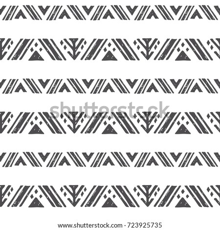 Tribal american indian seamless pattern. Vector hand drawn geometrical ethnic ornament with northern motifs