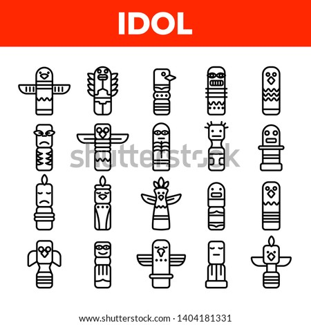 Tribal Ancient Idols Vector Linear Icons Set. Religious Idols. Ethnic Ceremonial Outline Symbols Pack. African Culture, Indian Animal Totems. Native Poles Isolated Contour Illustrations