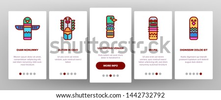 Tribal Ancient Idols Vector Onboarding Mobile App Page Screen. Religious Idols. Ethnic Ceremonial Outline Symbols Pack. African Culture, Indian Animal Totems. Native Poles Isolated Illustrations