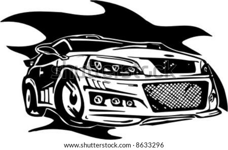 Auto Street Racing on Stock Vector   Tribal And Street Racing Cars   Series Vector Images