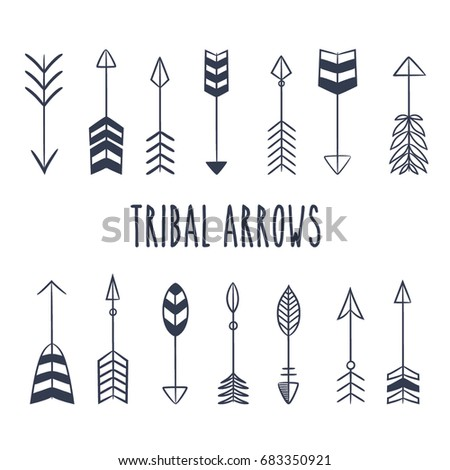 Tribal Arrow set in Native American Indian style. Vector hand drawn hipster illustration isolated on white background. Boho design, tattoo art, coloring book for adults. #683350921
