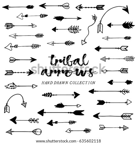 Tribal arrows hand drawn, arrows set, black arrows #635602118