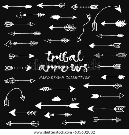 Tribal arrows hand drawn, arrows set, white arrows #635602082