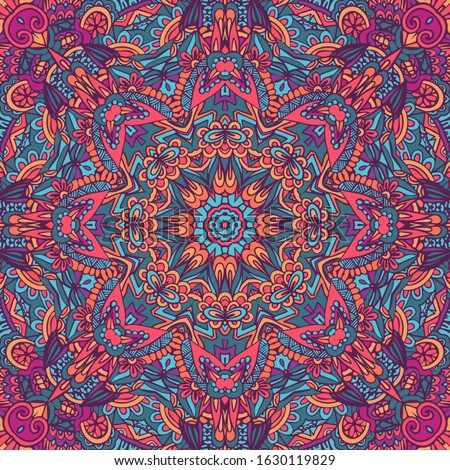 Tribal art bohemia seamless pattern. Ethnic geometric print. Colorful repeating background texture. Fabric, cloth design, wallpaper, wrapping Stock photo ©