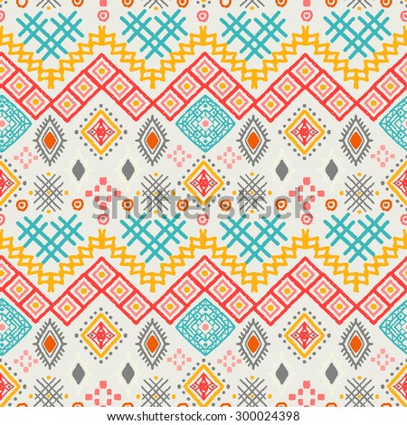 Tribal art boho seamless pattern. Ethnic geometric print. Aztec colorful repeating background texture. Fabric, cloth design, wallpaper, wrapping