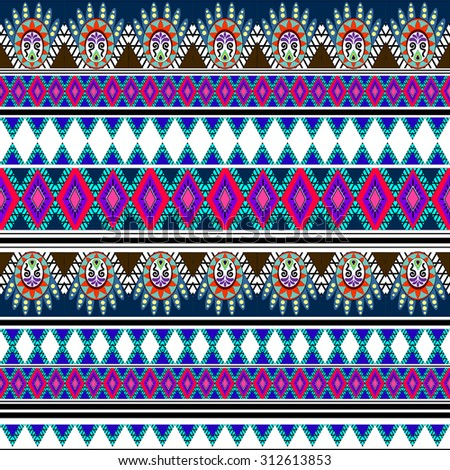 Tribal art boho seamless pattern Ethnic geometric print Colorful repeating background texture Fabric cloth design wallpaper