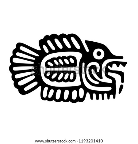 tribal art, ethnic aztec culture, fish drawing image  - isolated vector eps10