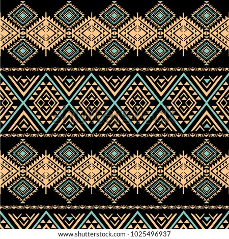 Tribal art pattern. Ethnic geometric print. Aztec colorful repeating background texture.