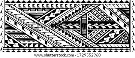 Tribal art tattoo sleeve in Polynesian aboriginal style
