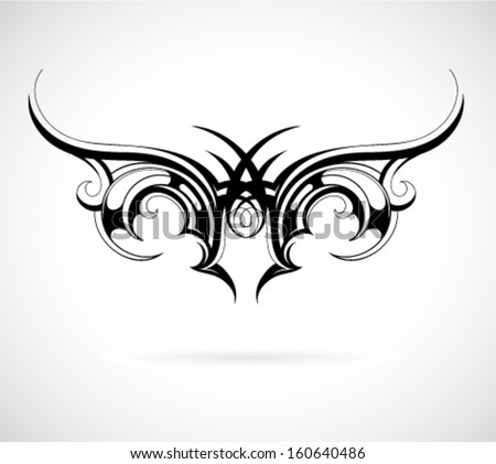 tribal art tattoo wing shape