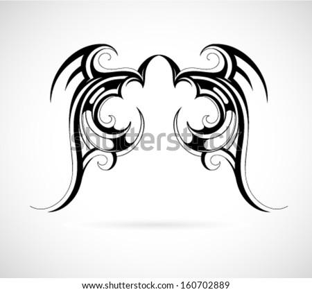 tribal art tattoo wing shape