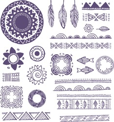 Tribal, Boho, Bohemian Mandala background with round ornaments, patterns and elements. Hand drawn vector illustration