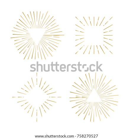 Tribal boho sunburst frames with place for your text. Gold sparkle hipster logo, Vector line firework shapes.