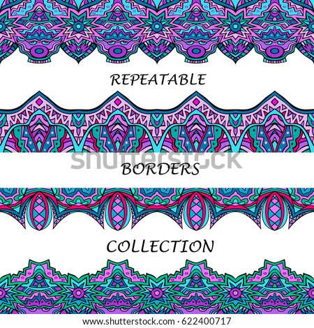 02514a662fc92 Tribal borders collection in lilac and turquoise colors. Abstract ethnic  pattern for repeatable frame designs