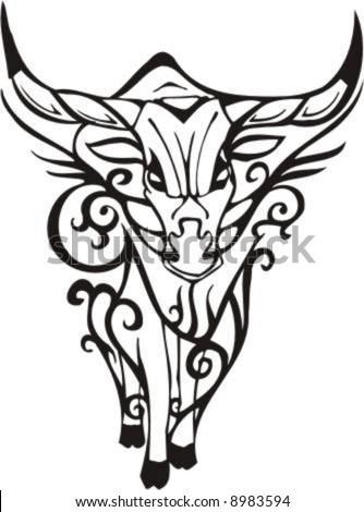 stock vector : Tribal Bull - vector clip art, high quality Flame and Tribal