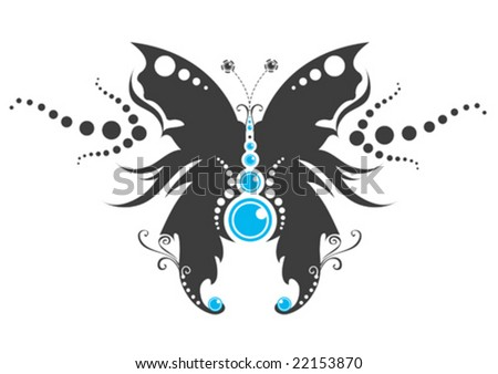Tribal butterfly tattoo. abstract