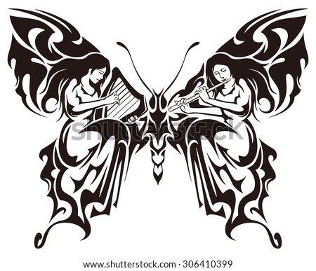 tribal butterfly with 2 fairy