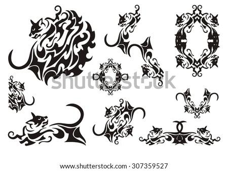 tribal cat symbols butterfly