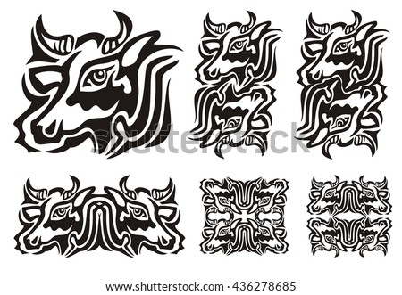 Tribal Cow Symbols Vector Illustration Of A Cow Black And White