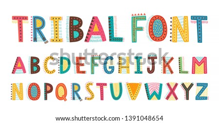 Tribal cute alphabet font. Uppercase doodle Letters. Vector hand drawn  typography. Childish typeface.