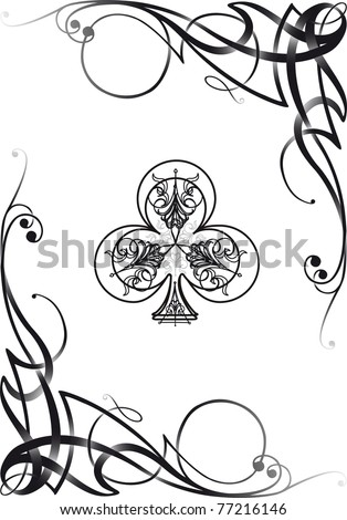 Tribal decorative style club ace poker playing cards, vector illustration re-sizable.